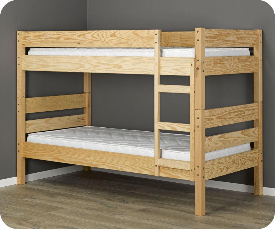 Litera 1 2 3 90x190cm natural madera maciza for Camas en madera economicas