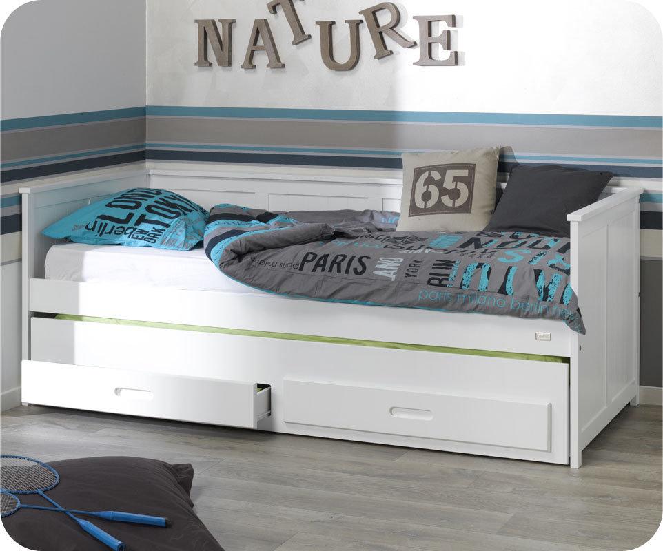 Sof cama nido juvenil 90x200cm swam blanco for Sofa cama para habitacion juvenil