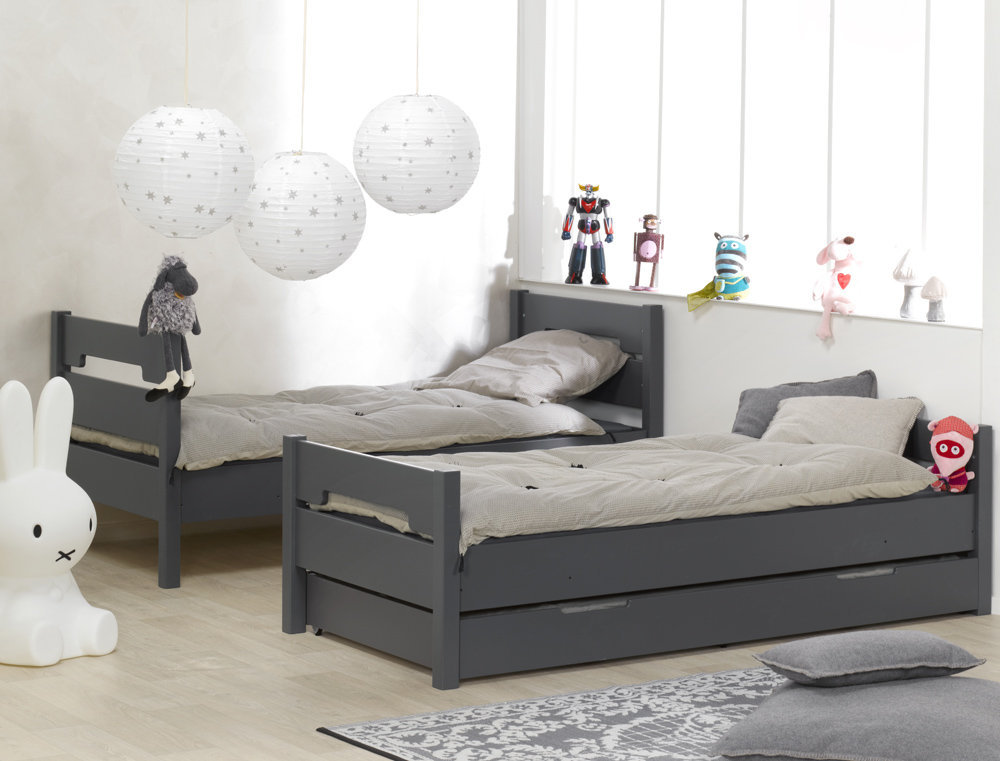 Venta de litera juvenil gris con 3 cama opcional modelo milo for Camas gemelas juveniles