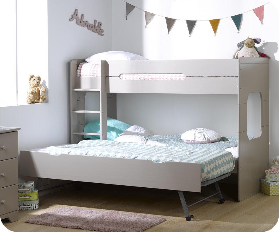 Litera spark con cama nido 90x200cm lino - Litera con cama nido ...