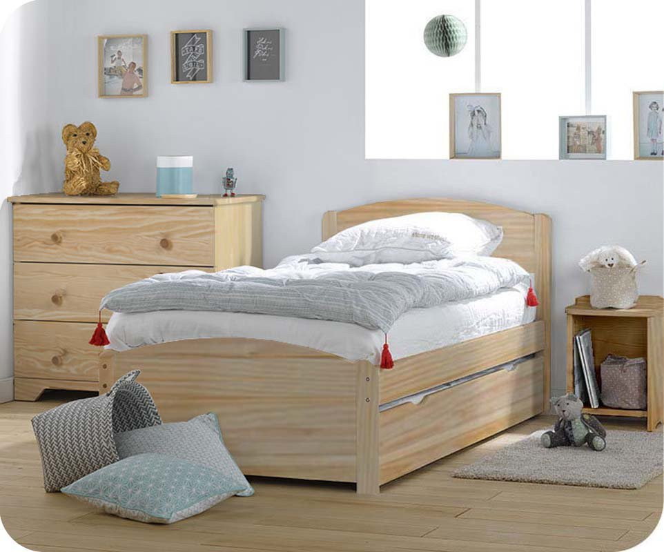 cama juvenil de madera maciza de 90x190 color natural nature. Black Bedroom Furniture Sets. Home Design Ideas
