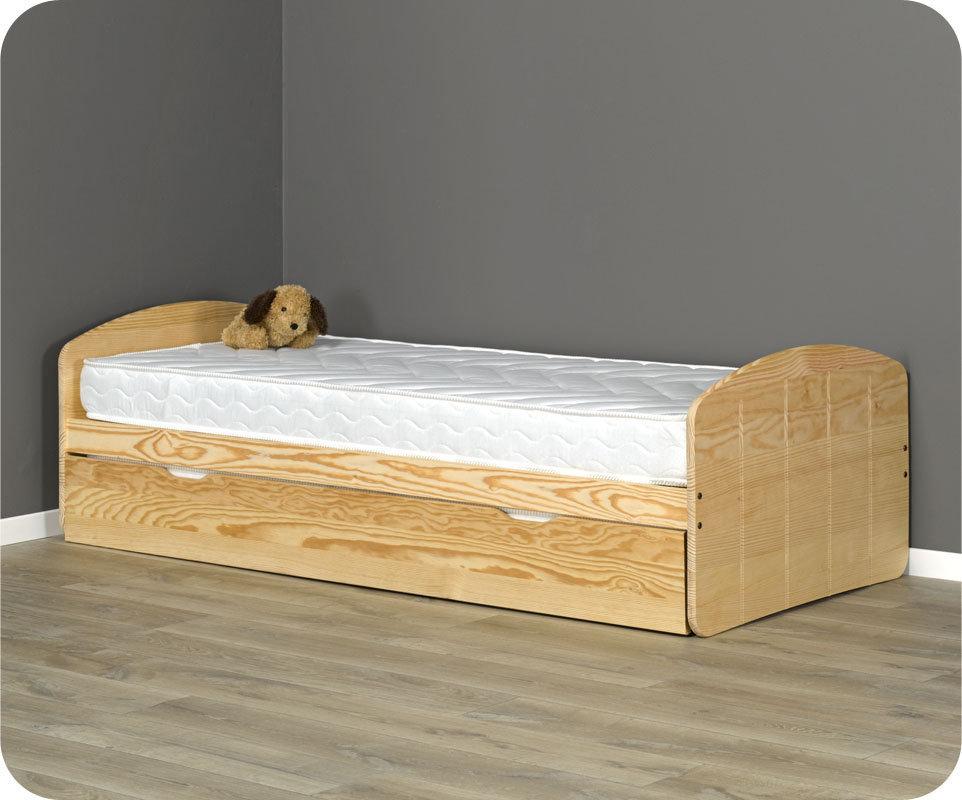 Comprar cama nido juvenil de 90x190cm natural madera maciza for Cama nido color madera