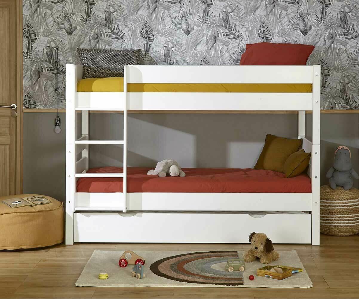 Litera 1 2 3 con cama nido supletoria blanca 90x190cm for Litera con cama nido